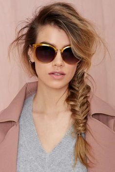 love the big sunglasses and the fishtail braid
