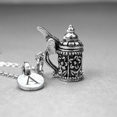 Personalized Beer Stein Necklace by chrysdesignsjewelry on Etsy