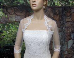 Ivory 3/4 sleeve bridal shrug lace bolero wedding by alexbridal