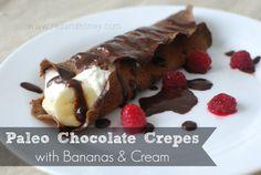 Grain Free Paleo Chocolate Crepes with Bananas & Cream | Red & Honey