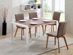 Table à manger extensible EXTRIS - 6 à 8 couverts - MDF blanc & noyer