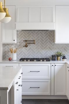 white kitchen fireclay tile backsplash - I would want a backsplash like this with white cabinets Home Decor Kitchen, Diy Kitchen, Kitchen Interior, Home Kitchens, Kitchen Living, Kitchen Ideas Simple, Remodeled Kitchens, Chef Kitchen, Kitchen Sinks