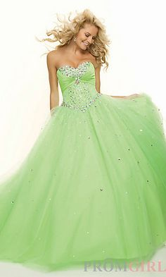 Long Strapless Beaded Ball Gown at PromGirl.com
