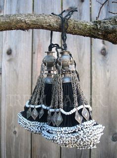 This is a traditional and vintage Turkmen tassel pair.