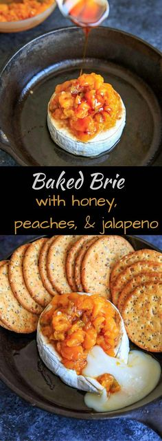 Peach Jalapeno Honey Baked Brie - a delicious party appetizer or game time food. Dip with your favorite crackers or veggies!