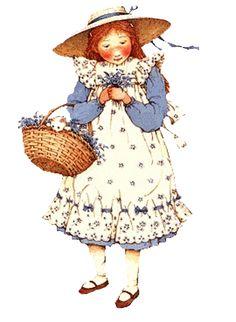 Holly Hobbie, eyelet pinafore, basket of flowers