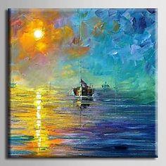 【今だけ☆送料無料】 アートパネル  自然・風景画1枚で1セット 海原 オーシャン 漁船 太陽【納期】お取り寄せ2~3週間前後で発送予定