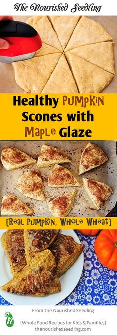 These morsels are baked with maple, cinnamon and brown sugar goodness on the inside and drizzle on the outside!  Healthy and whole food ingredients, such as freshly roasted pumpkin and whole wheat flour, make these scones even tastier!