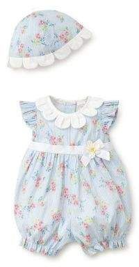 Little Me – Baby's Two-Piece Floral Cotton Romper and Hat Set - Babykleidung Baby Dress Design, Baby Girl Dress Patterns, Baby Clothes Patterns, Little Girl Outfits, Little Girl Dresses, Baby Outfits, Kids Outfits, Sewing Patterns, Sewing Baby Clothes