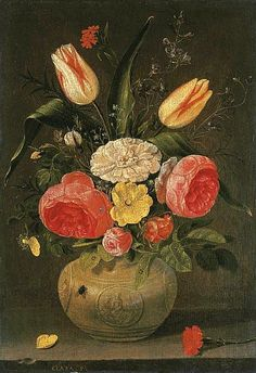 Clara Peeters (1594-1657) Roses, tulips, carnations and other flowers in a stoneware vase with ornamental relieves on a stone ledge