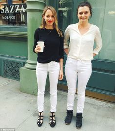 Intrigued and dubious in equal parts, the FEMAIL team took the white jeans for a test drive to see if they could really live up to their claims (pictured: after the experiment)