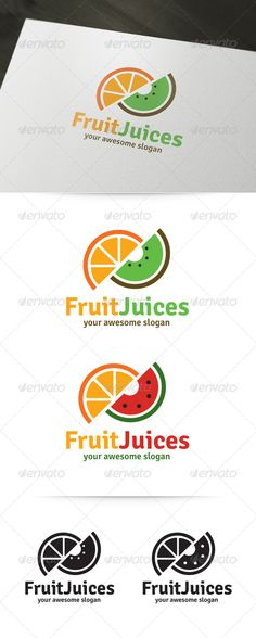 4db462cc9d8 The Fruit Juices Logo Template  Fruit Juices  is a fresh and delicious logo  template for juice bars and other fruit o.