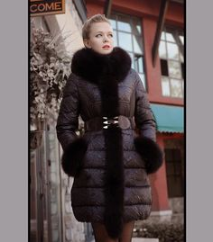 Winter 2016 News Brand/ Chinese Women Duck Down Coats Real Fox Fur Collar Patchwork warm Outwear Plus Size Coats Discount WD2026