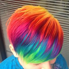 Short colourful hair.