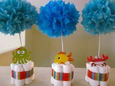 Ocean theme diaper centerpieces