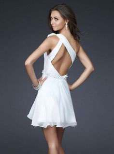 2011 Style A-line One Shoulder Sleeveless Short / Mini  Chiffon  Bridesmaid / Cocktail Dresses / Homecoming Dresses