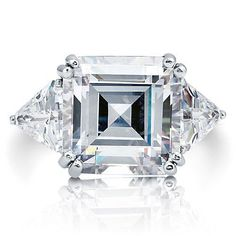 $99 16 Carat CT Asscher-Cut 3 Stone CZ Engagement Anniversary Ring Sterling Silver #CocktailRing #ThreeStone