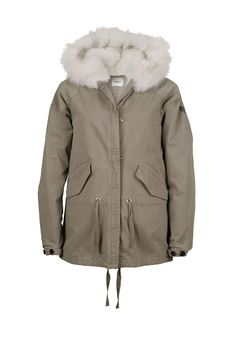 LEMPELIUS Fall Winter 2015 16 Women Short Parka Jacket with lamb fur hood