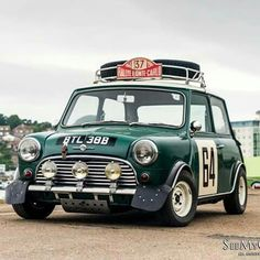In rally spec. I'd use this for historic rallies. Mini Cooper S, Mini Cooper Classic, Classic Mini, Classic Cars, Mini Clubman, Mini Countryman, Vintage Racing, Vintage Cars, Jeep Carros