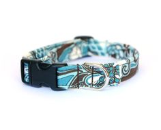 Blue and White Floral Adjustable Dog Collar  by ShortcakeDesigns, $16.00