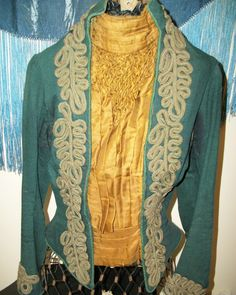 Late 1880s/early 1890s green wool with yellow silk