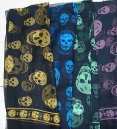 The Scull Scarf by Alexander McQueen became a hit in the Entertainment realm. The Kardashian family started wearing the trend, not only with scarves, but also by placing skull patterned blankets and other decor through out their home. These items were very visible on episodes of their reality television show. Once viewers and fans became familiar of the popular trend, stores such as Nordstrom's BP started carrying a lower priced version of the scarf. Lauren Thomas