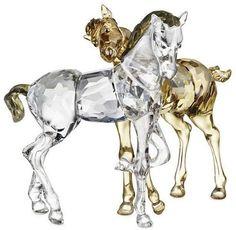 Swarovski Colored Crystal Playing Foals.  Swarovski Crystal Figurine.
