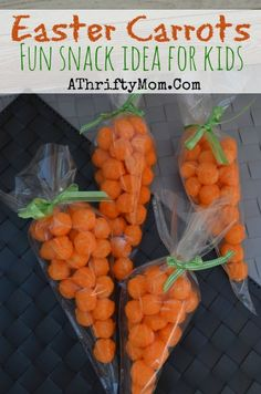 Easter Carrots, Cheeto or Cheese Puffs carrots for Easter. Easy snack ideas for kids, all you need is Cheese Puffs, Ribbon and a Frosting ba...