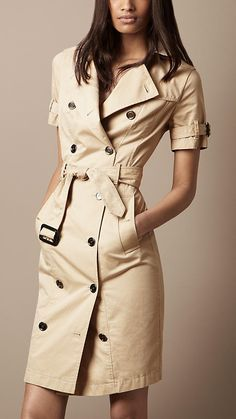 Burberry - COTTON GABARDINE TRENCH DRESS   - She's got to be half naked below it in order for it to count.