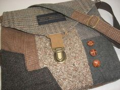 Recycled purse,  brown tweed wool,  upcycled mens suit coat, womens. $55.00, via Etsy.