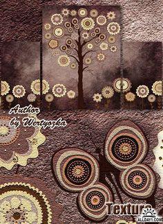 Tríptico pintura modular - árboles creativos y flores