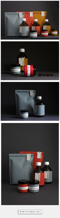 Grøt Packaging on Behance by Silje Forbes, Oslo, Norway curated by Packaging Diva PD.  Concept for a series of grains and liquids called Grøt - the packaging is made of durable materials that invites for re-use. Branding, Graphic Design.