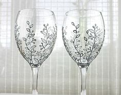 Wine Glasses Wedding glasses Anniversary Glasses por witchcorner