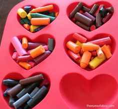 melted crayons make new crayons in the oven - crayon art for kids and making upcycled crayon projects