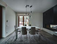Spacious Home with a Warm Interior in Kiev - Design Milk White Cabinets White Countertops, Interior Exterior, Interior Design, Grey Tiles, Minimalist Kitchen, Room Lights, Home Decor Kitchen, House Design, Furniture