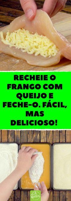 Frango empanado é uma delícia apreciada por muita gente. Com um recheio de queijo, então, fica inigualável. Como o céu é o limite, por que não dar um toque a mais? Hoje faremos um delicioso e inigualável frango a parmegiana empanado. #bifeamilanesa #frango #frangoaparmegiana #frangoempanado #parmegiana #queijo #comidacaseira