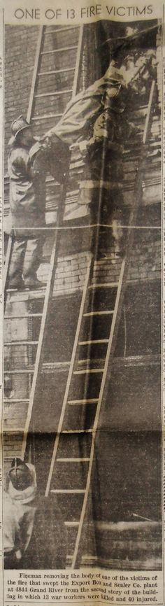 ONE OF 13 FIRE VICTIMS (August 14, 1945) | Clippings from the DETROIT TIMES Times Newspaper, Detroit, Fire