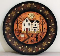 Winter Folk Art Painting Wood Plate Primitive Country Scene Snowman Foxes Mittens Saltbox Houses Christmas Decoration MADE TO ORDER | Folk art ... & Winter Folk Art Painting Wood Plate Primitive Country Scene ...