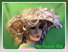 Woman's white taupe beige brown fashion hat, designerhat, Pictorial Hats For Classy Events Is A Must Have Look, saks, Shop For Fineries In Headwear Apparel At NYFashionHats