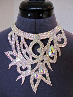 Ballroom jewelry, rhinestone necklace, ballroom necklace, dance necklace, Rhinestone choker, dance jewelry, ab rhinestones, belly dance, latin, ballroom,