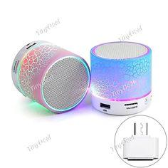 2016 New LED Mini Portable Wireless Bluetooth 4.0 Speaker w/ Mini Micro USB to USB OTG Adapter f Smartphone KB-516339
