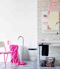 Real Living Magazine June 2012 Bathrooms - Electric Pink. (photography: maree homer, styling: erin michael)