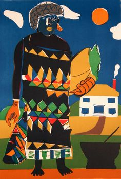 Romare Bearden art, colorful patterns, house and home