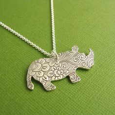 Rhino+Necklace+Flowered+Rhino+Necklace+Fine+Silver+by+Dragonfly65,+$65.00