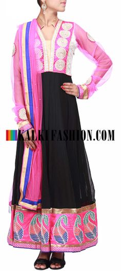 Buy Online from the link below. We ship worldwide (Free Shipping over US$100)  http://www.kalkifashion.com/black-anarkali-suit-with-highlighted-yoke-only-on-kalki.html Black anarkali suit with highlighted yoke only on Kalki