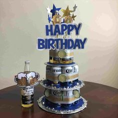 Beautiful Picture of Happy Birthday Cakes For Him . Happy Birthday Cakes For Him Happy Birthday Beer Cake Artatphoto Money Birthday Cake, Birthday Cake For Him, Happy Birthday Cakes, Man Birthday, 21st Birthday Ideas For Guys, Beer Birthday Party, Girlfriend Birthday, Cake In A Can, How To Make Cake