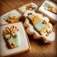 Fancy Cake & Presents decorated cookies by Grunderfully Delicious