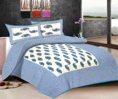 Viskar Fab Tex Rajasthani Hand Block Printed Jaipuri Cotton Double Bedsheet with 2 pillow covers Persian Pickle Ocean Blue