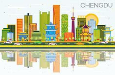 Buy Chengdu China Skyline with Color Buildings by booblgumpnz on GraphicRiver. Chengdu China Skyline with Color Buildings, Blue Sky and Reflections. Business Travel and Touris. Black And White City, Skyline Silhouette, Usa Cities, Chengdu, Travel And Tourism, Business Travel, Modern Architecture, Poster, China