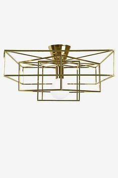 Ellos Home Plafond Cube Messingfarvet, Mat sort - Loftslamper Cubes, Hall Lighting, Furniture Movers, Ikea Hack, Messing, Opal, New Homes, Chandelier, Brass